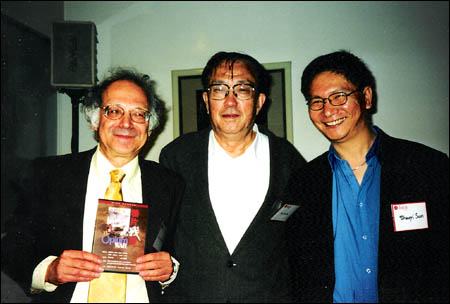 With Famed Director XIE Jin (1923-2008) at the University of Southern California; Photo taken in 2002.